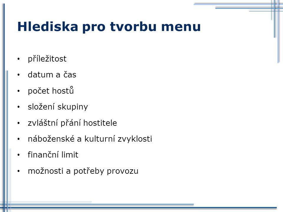 Hlediska pro tvorbu menu