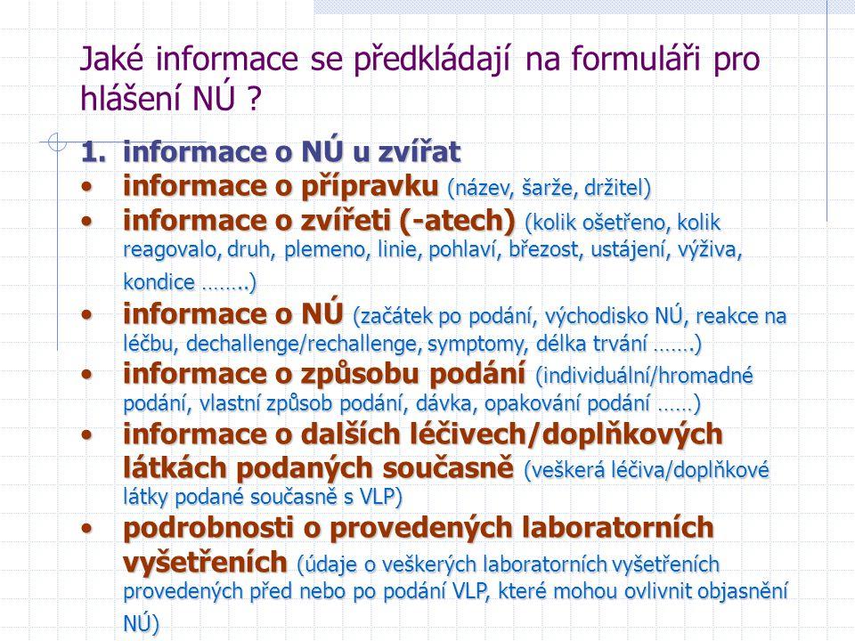 Jaké informace se předkládají na formuláři pro hlášení NÚ