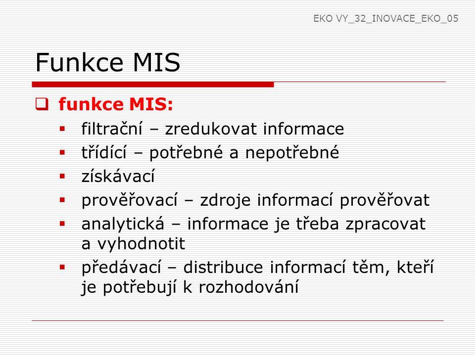 Funkce MIS funkce MIS: filtrační – zredukovat informace