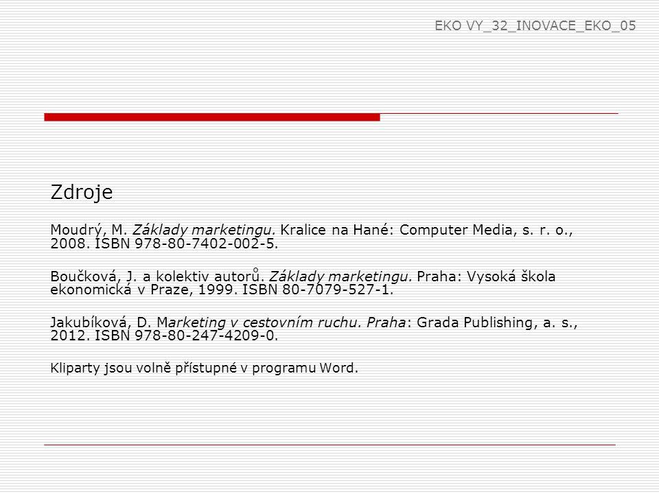 EKO VY_32_INOVACE_EKO_05 Zdroje. Moudrý, M. Základy marketingu. Kralice na Hané: Computer Media, s. r. o., 2008. ISBN 978-80-7402-002-5.