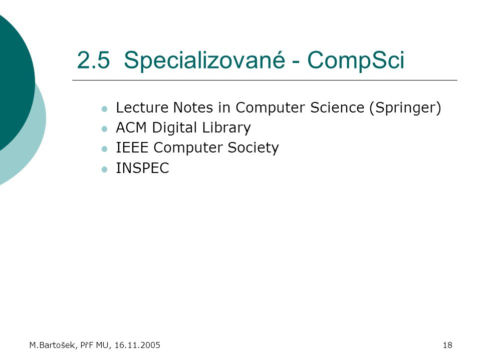 2.5 Specializované - CompSci