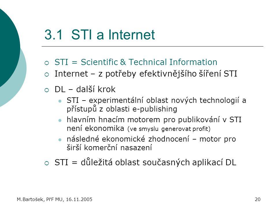 3.1 STI a Internet STI = Scientific & Technical Information