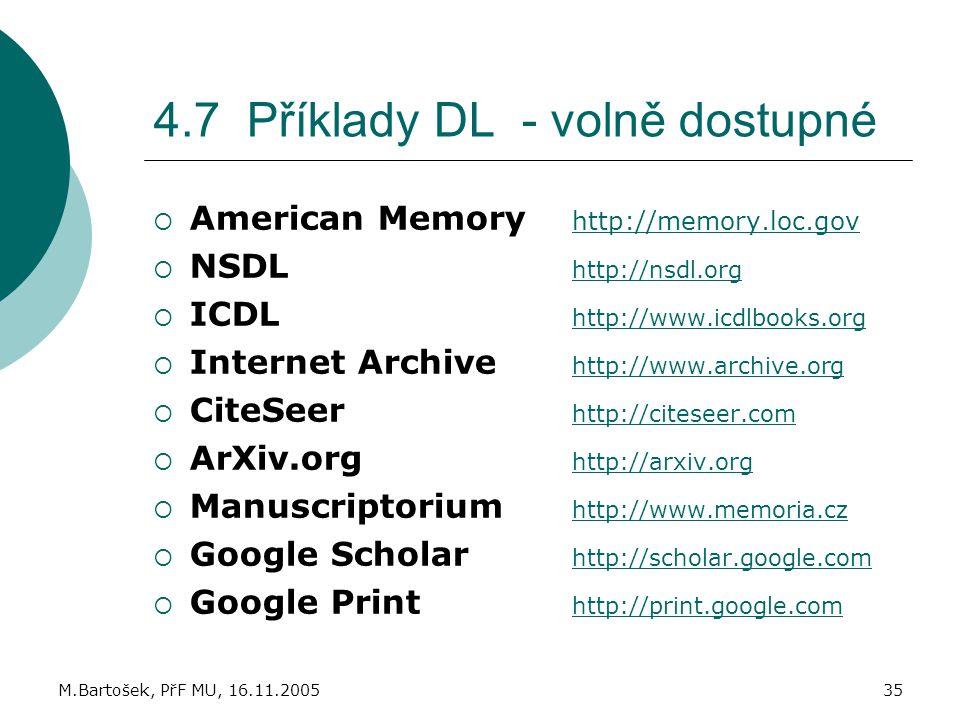 4.7 Příklady DL - volně dostupné