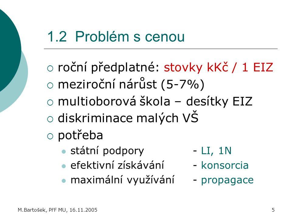 1.2 Problém s cenou roční předplatné: stovky kKč / 1 EIZ