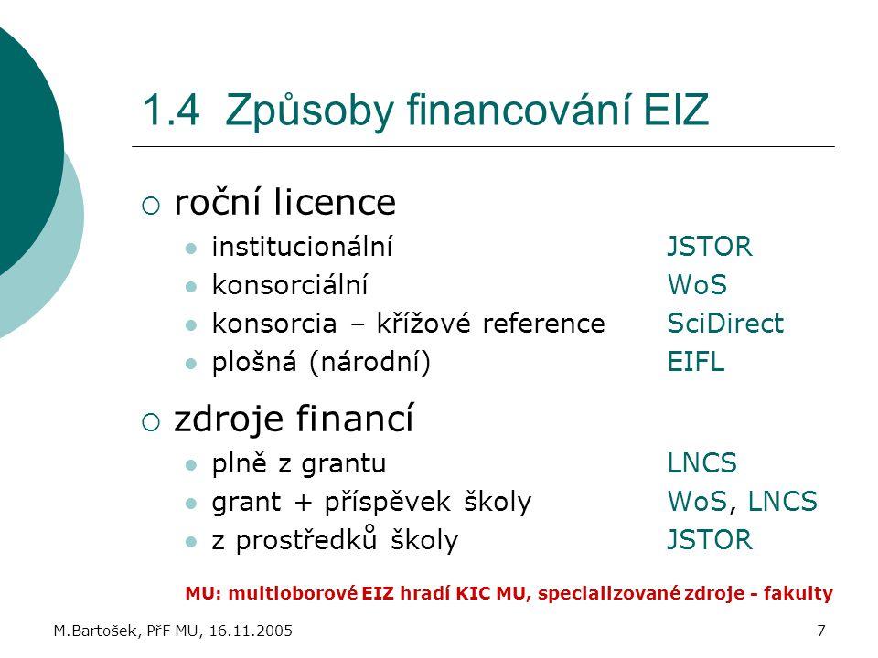 1.4 Způsoby financování EIZ