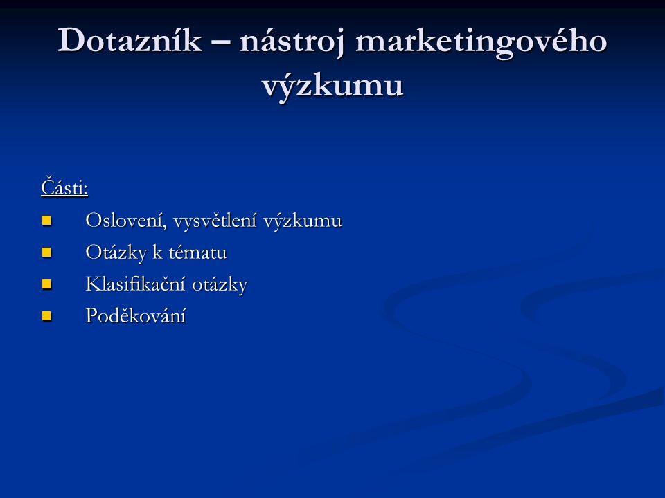 Dotazník – nástroj marketingového výzkumu