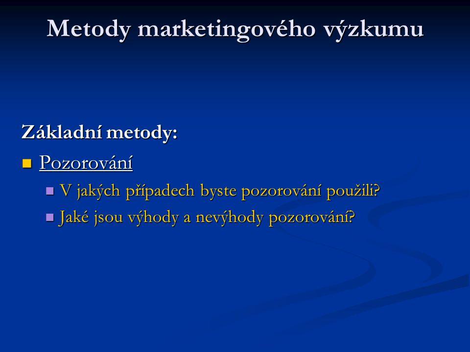 Metody marketingového výzkumu