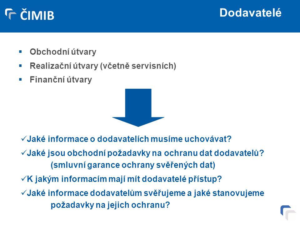 Dodavatelé Obchodní útvary Realizační útvary (včetně servisních)