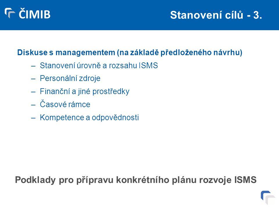 Stanovení cílů - 3. Diskuse s managementem (na základě předloženého návrhu) Stanovení úrovně a rozsahu ISMS.