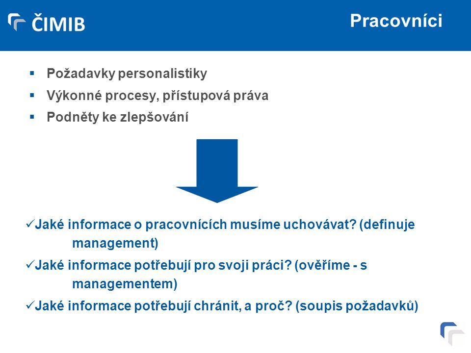 Pracovníci Požadavky personalistiky Výkonné procesy, přístupová práva