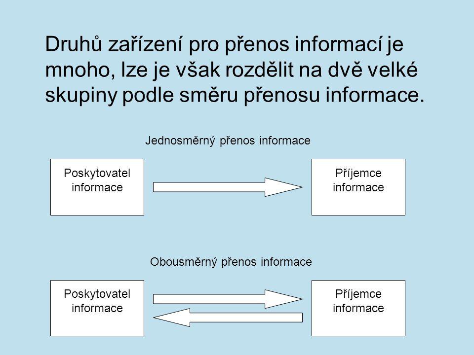 Druhů zařízení pro přenos informací je mnoho, lze je však rozdělit na dvě velké skupiny podle směru přenosu informace.