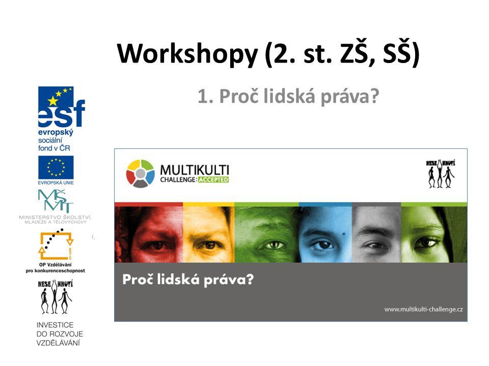 17. 3. 2010 Workshopy (2. st. ZŠ, SŠ) 1. Proč lidská práva