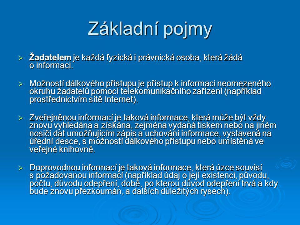 Základní pojmy Žadatelem je každá fyzická i právnická osoba, která žádá o informaci.
