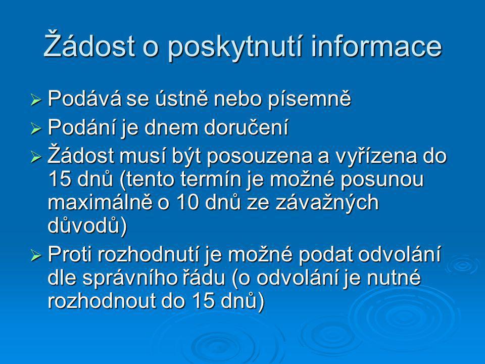 Žádost o poskytnutí informace