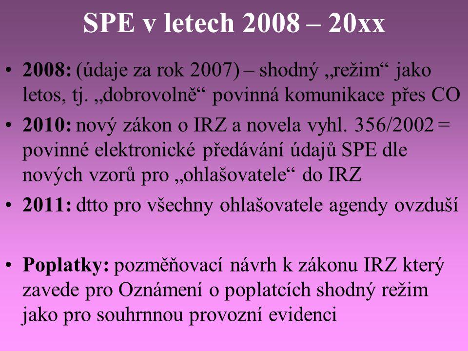 """SPE v letech 2008 – 20xx 2008: (údaje za rok 2007) – shodný """"režim jako letos, tj. """"dobrovolně povinná komunikace přes CO."""