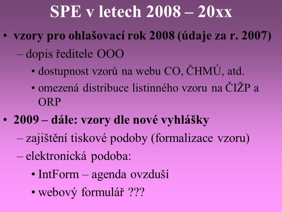 SPE v letech 2008 – 20xx vzory pro ohlašovací rok 2008 (údaje za r. 2007) dopis ředitele OOO. dostupnost vzorů na webu CO, ČHMÚ, atd.