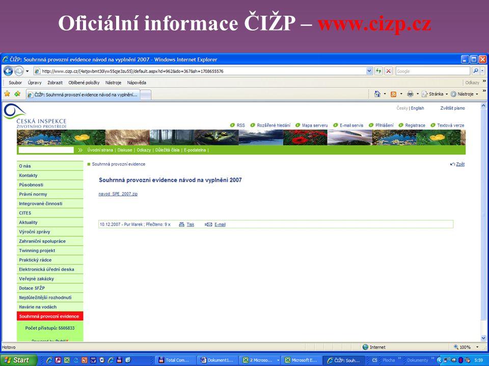 Oficiální informace ČIŽP – www.cizp.cz
