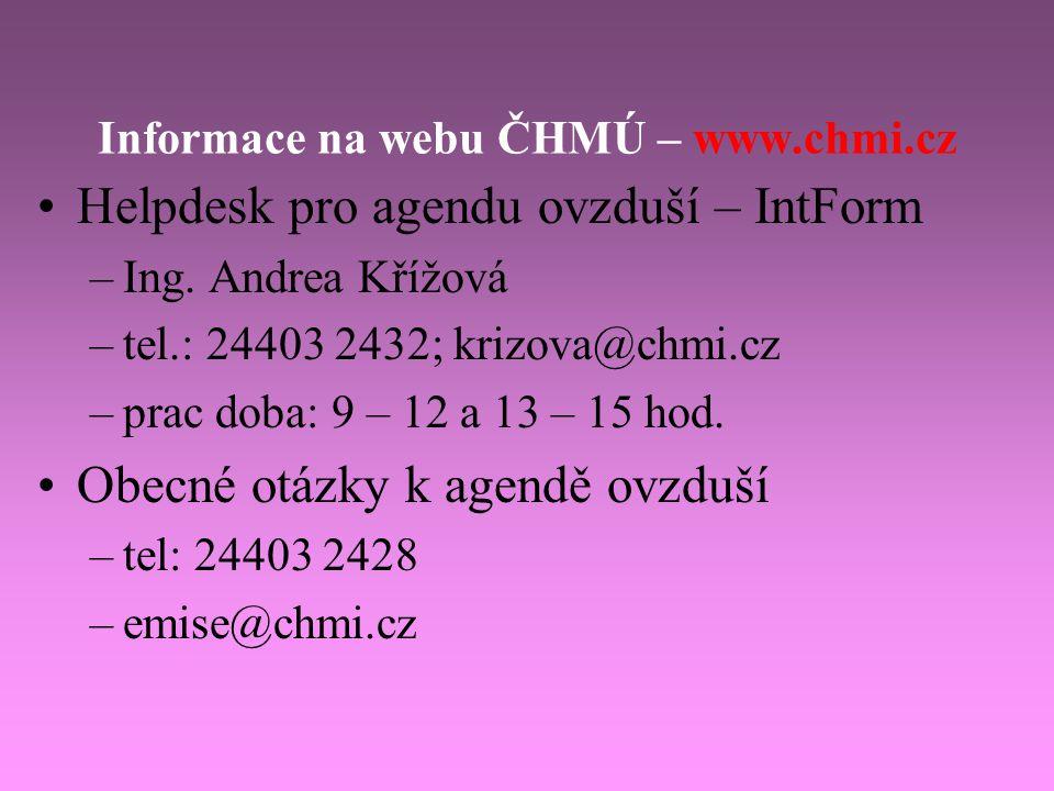 Informace na webu ČHMÚ – www.chmi.cz