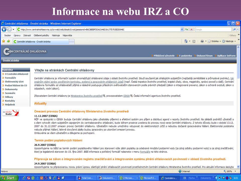 Informace na webu IRZ a CO