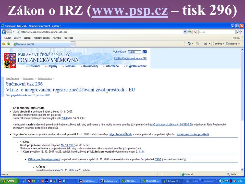 Zákon o IRZ (www.psp.cz – tisk 296)