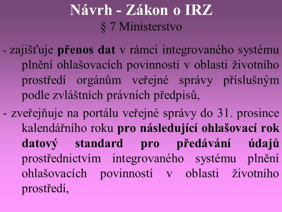 Návrh - Zákon o IRZ § 7 Ministerstvo