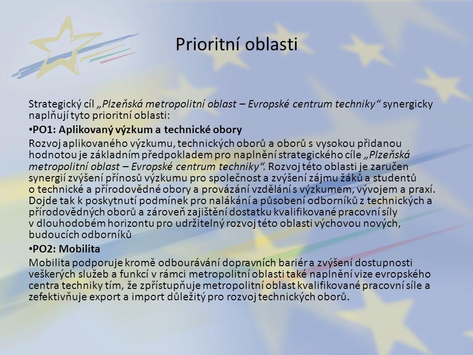 """Prioritní oblasti Strategický cíl """"Plzeňská metropolitní oblast – Evropské centrum techniky synergicky naplňují tyto prioritní oblasti:"""
