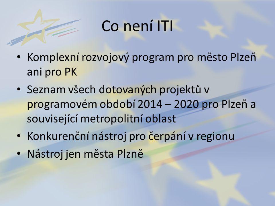 Co není ITI Komplexní rozvojový program pro město Plzeň ani pro PK