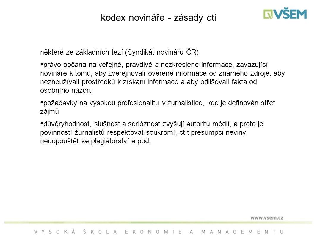 kodex novináře - zásady cti