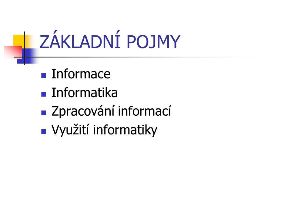 ZÁKLADNÍ POJMY Informace Informatika Zpracování informací