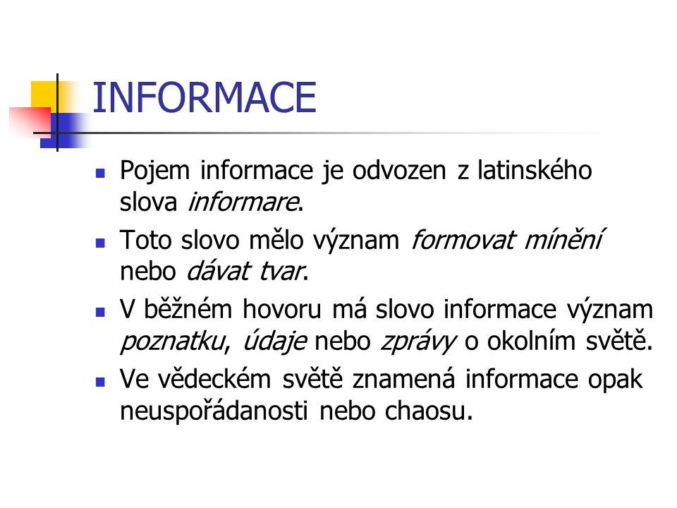 INFORMACE Pojem informace je odvozen z latinského slova informare.