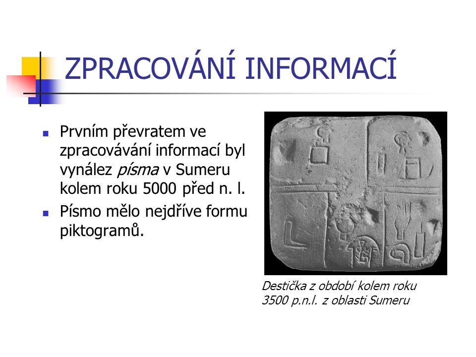 ZPRACOVÁNÍ INFORMACÍ Prvním převratem ve zpracovávání informací byl vynález písma v Sumeru kolem roku 5000 před n. l.