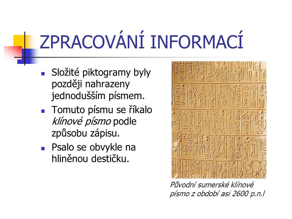 ZPRACOVÁNÍ INFORMACÍ Složité piktogramy byly později nahrazeny jednodušším písmem. Tomuto písmu se říkalo klínové písmo podle způsobu zápisu.