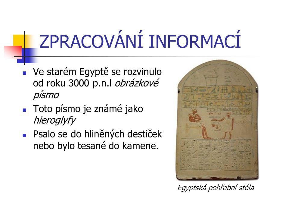 ZPRACOVÁNÍ INFORMACÍ Ve starém Egyptě se rozvinulo od roku 3000 p.n.l obrázkové písmo. Toto písmo je známé jako hieroglyfy.
