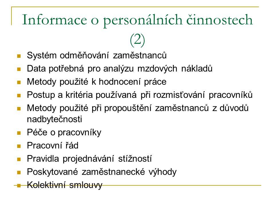 Informace o personálních činnostech (2)