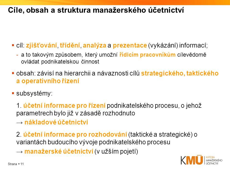 Cíle, obsah a struktura manažerského účetnictví
