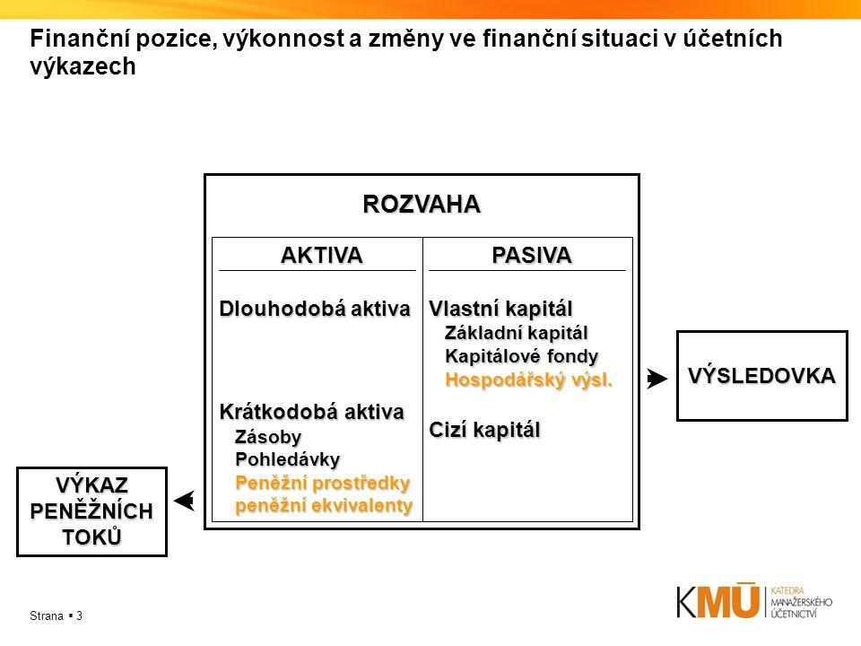 Finanční pozice, výkonnost a změny ve finanční situaci v účetních výkazech