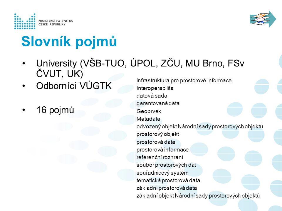 Slovník pojmů University (VŠB-TUO, ÚPOL, ZČU, MU Brno, FSv ČVUT, UK)