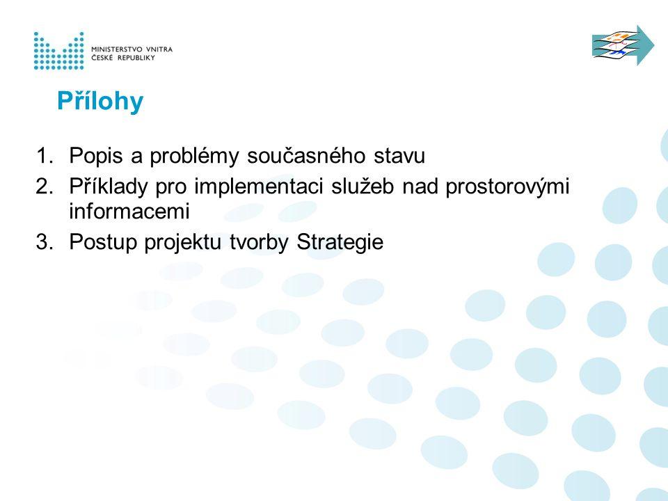 Přílohy 1. Popis a problémy současného stavu 2. Příklady pro implementaci služeb nad prostorovými informacemi 3. Postup projektu tvorby Strategie