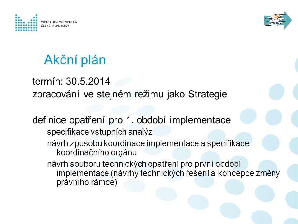 Akční plán termín: 30.5.2014. zpracování ve stejném režimu jako Strategie. definice opatření pro 1. období implementace.