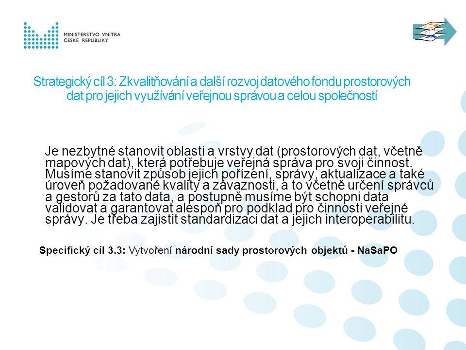 Strategický cíl 3: Zkvalitňování a další rozvoj datového fondu prostorových dat pro jejich využívání veřejnou správou a celou společností