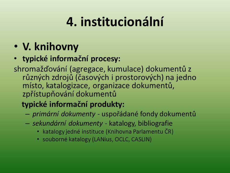 4. institucionální V. knihovny typické informační procesy: