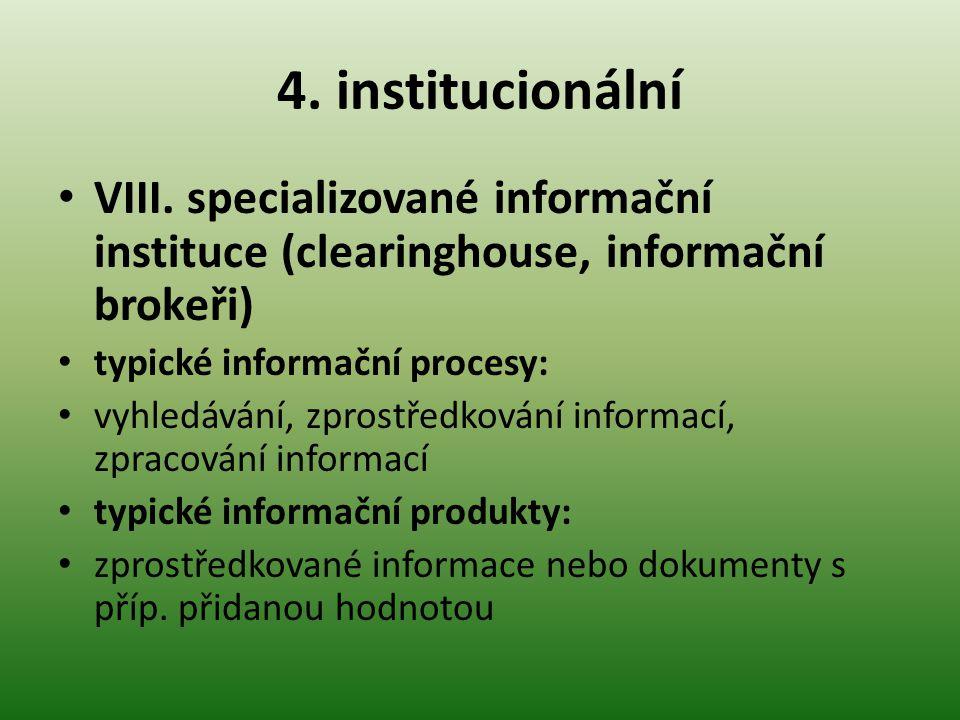 4. institucionální VIII. specializované informační instituce (clearinghouse, informační brokeři) typické informační procesy: