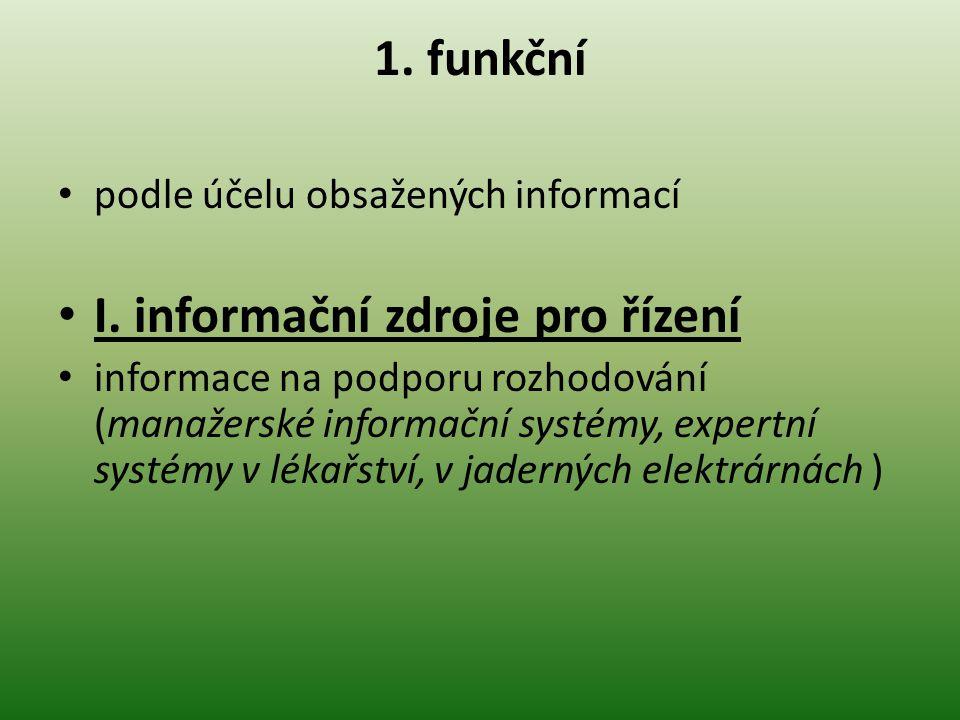 I. informační zdroje pro řízení