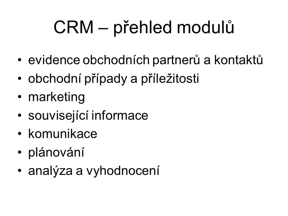 CRM – přehled modulů evidence obchodních partnerů a kontaktů