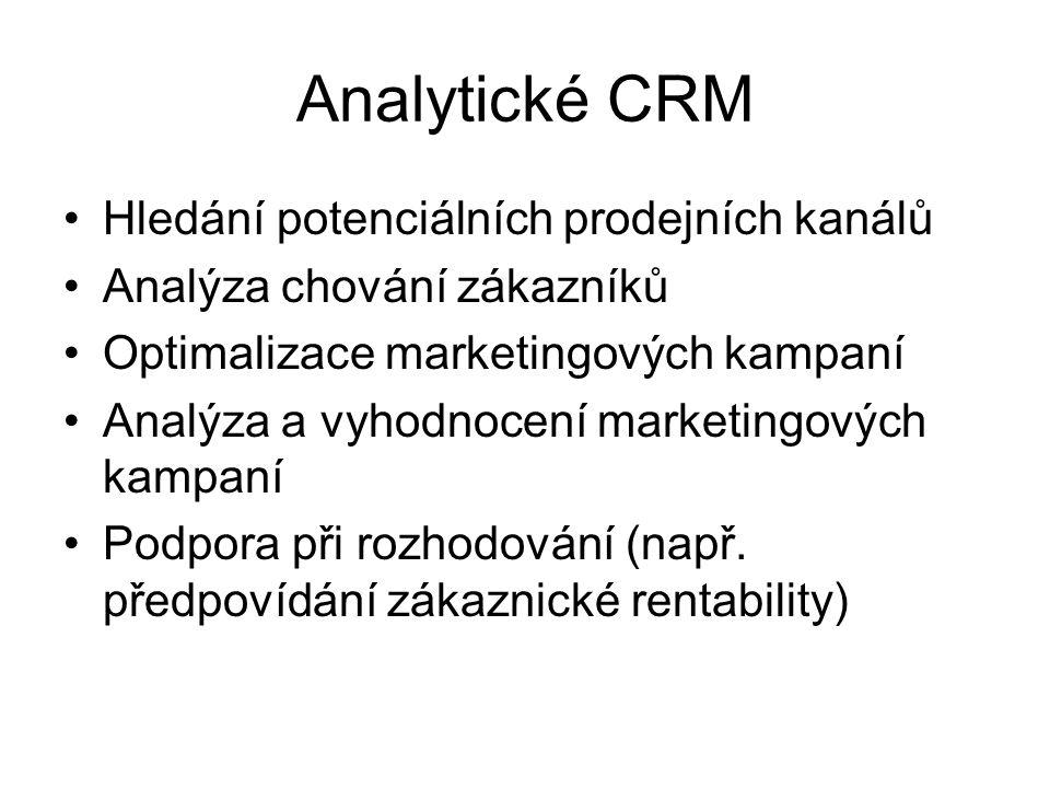 Analytické CRM Hledání potenciálních prodejních kanálů