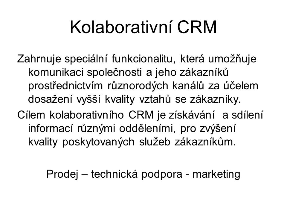 Kolaborativní CRM