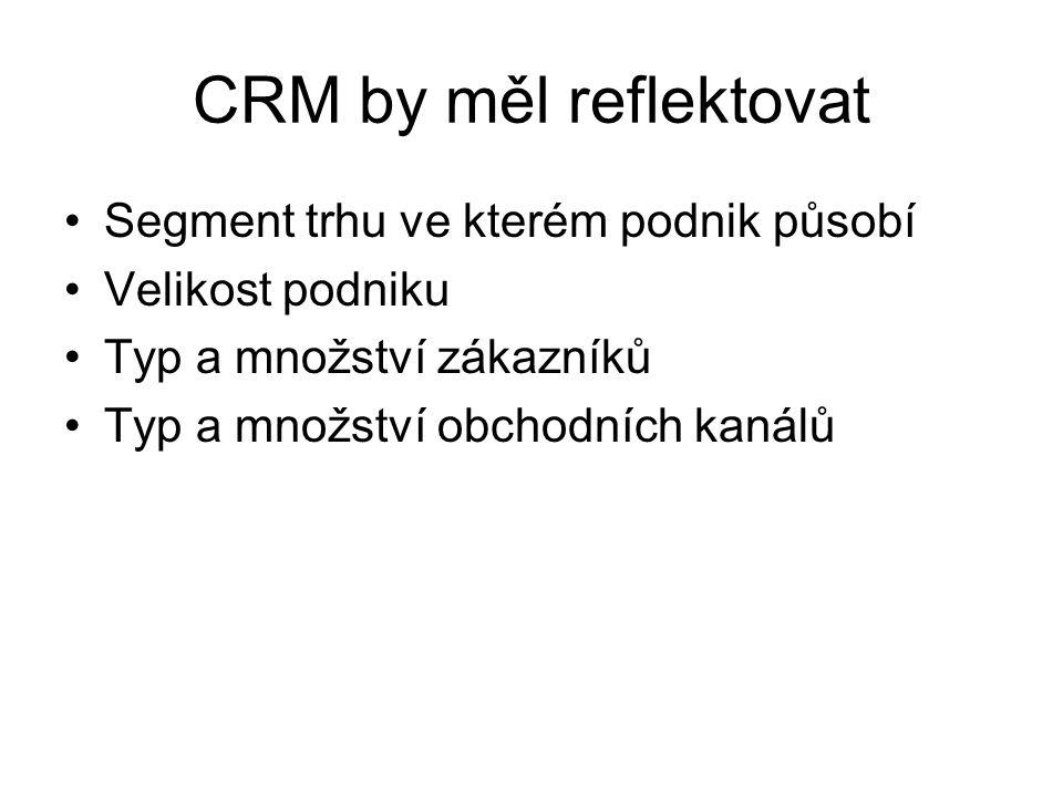 CRM by měl reflektovat Segment trhu ve kterém podnik působí