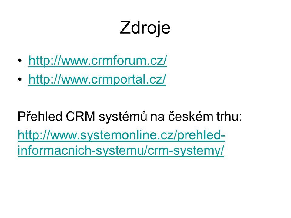 Zdroje http://www.crmforum.cz/ http://www.crmportal.cz/