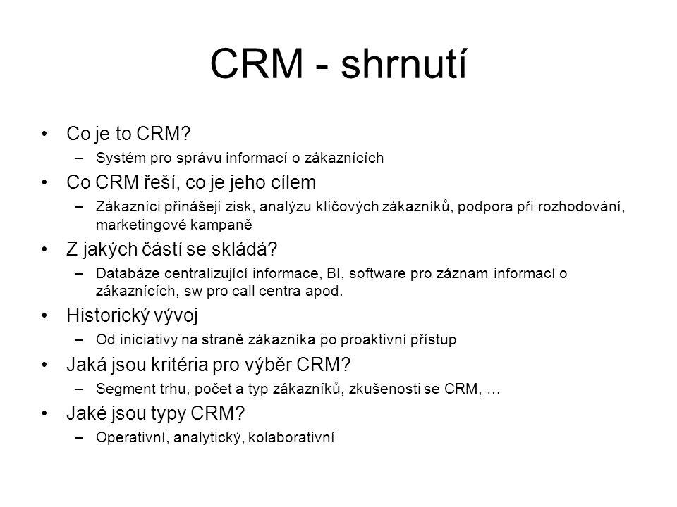 CRM - shrnutí Co je to CRM Co CRM řeší, co je jeho cílem