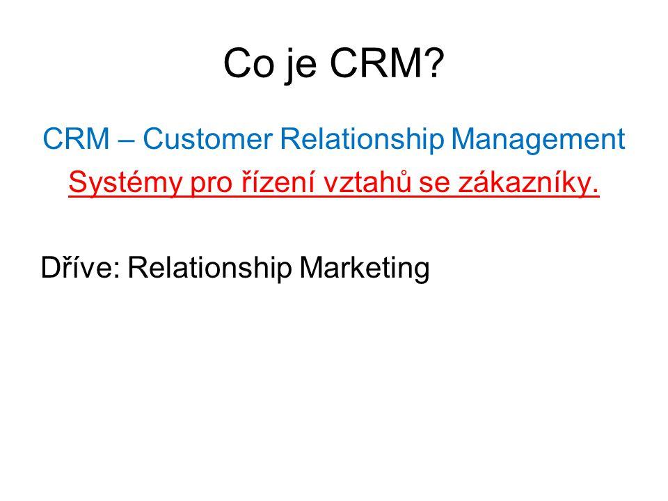 Co je CRM CRM – Customer Relationship Management